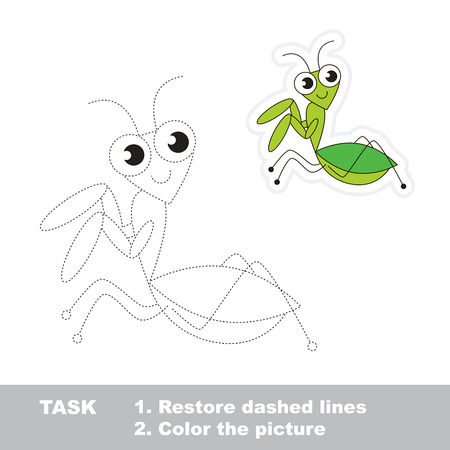 mantis: Mantis in vector to be traced. Restore dashed line and color the picture. Trace game for children. Illustration