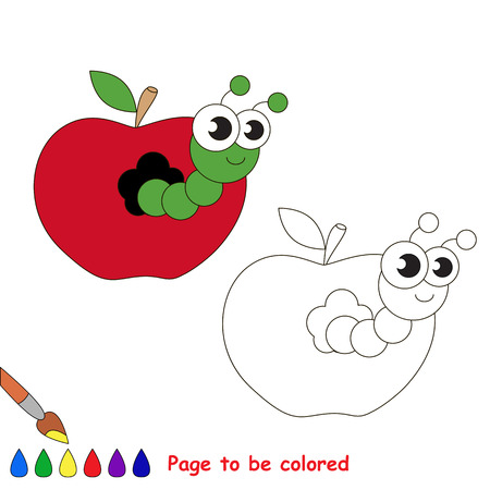 children caterpillar: Caterpillar in apple to be colored. Coloring book for children. Visual game.