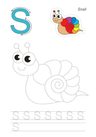 kid s: Vector exercise illustrated alphabet. Learn handwriting. Gaming and education. Page to be traced. Kid game. Complete english alphabet. Tracing worksheet for letter S. Snail.