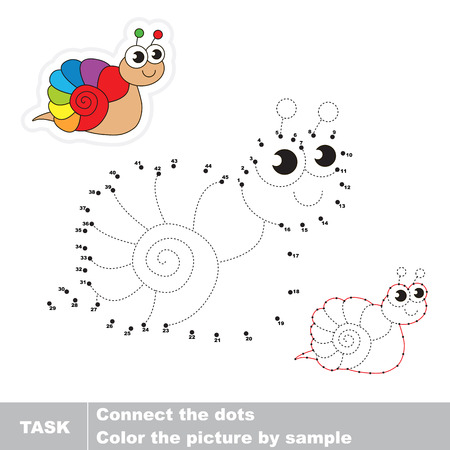 traced: Rainbow snail in vector to be traced by numbers. Vector visual game for children. Illustration