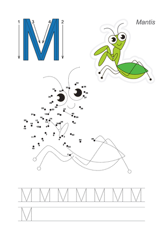 mantis: Vector exercise illustrated alphabet. Gaming and education. Learn handwriting. Connect dots by numbers. Kid game. Tracing worksheet for letter M. Mantis.