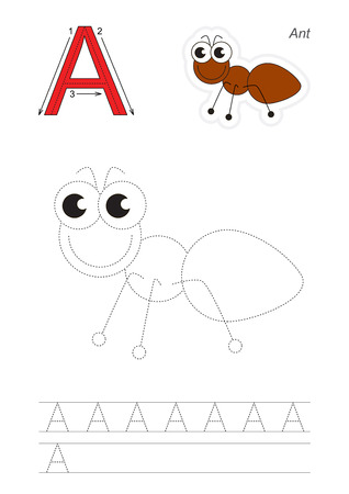 joining the dots: Vector exercise illustrated alphabet. Learn handwriting. Gaming and education. Page to be traced. Kid game. Complete english alphabet. Tracing worksheet for letter A, ant