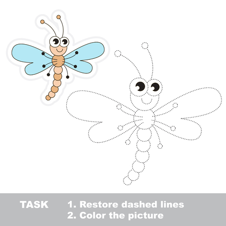 restore: Dragonfly in vector to be traced. Restore dashed line and color the picture. Trace game for children.
