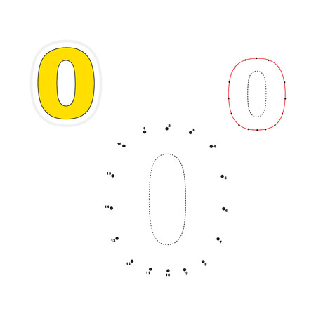 joining the dots: Zero in vector to be traced by numbers. Join dots. Connect by numbers. Vector visual game for children.