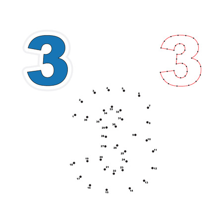 three dots: Three in vector to be traced by numbers. Join dots. Connect by numbers. Vector visual game for children.
