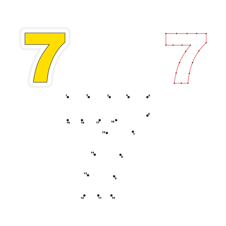 joining the dots: Seven in vector to be traced by numbers. Join dots. Connect by numbers. Vector visual game for children.