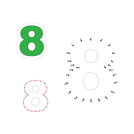 figure of eight: Eight in vector to be traced by numbers. Join dots. Connect by numbers. Vector visual game for children. Illustration