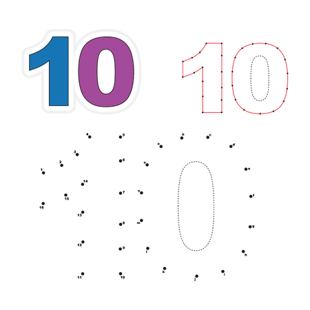 joining the dots: Ten in vector to be traced by numbers. Join dots. Connect by numbers. Vector visual game for children.