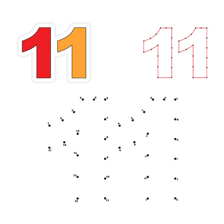 number eleven: Eleven in vector to be traced by numbers. Join dots. Connect by numbers. Vector visual game for children. Illustration