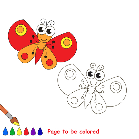red butterfly: The red butterfly to be colored. Coloring book for children. Visual game.