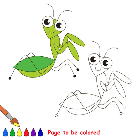 mantis: The green mantis to be colored. Coloring book for children. Visual game.