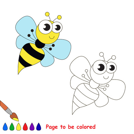 wasp: Funny wasp to be colored. Coloring book for children. Visual game.