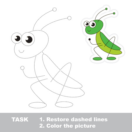restore: Cute grasshopper in vector to be traced. Restore dashed line and color the picture. Trace game for children. Illustration