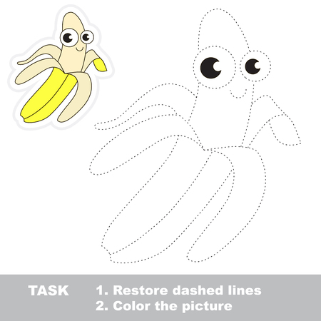difficulty: Yellow banana in vector to be traced. Easy educational kid game. Simple level of difficulty. Restore dashed line and color the picture. Trace game for children.