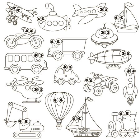 colorless: Funny transport set in vector, the colorless version.