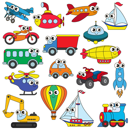 cartoon astronaut: Funny transport set in vector, the colorful version.