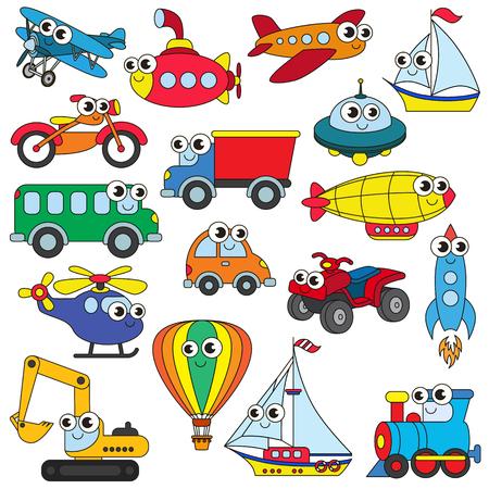 Lustige Transportgruppe in Vektor, die bunte Version. Vektorgrafik