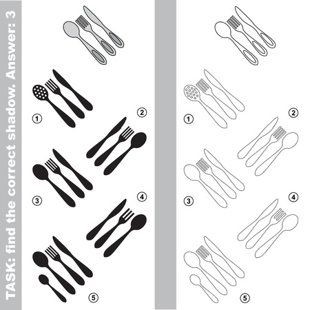 difficulty: Utensils with different shadows to find the correct one. Compare and connect object with it true shadow. Easy educational kid gaming. Simple level of difficulty. Visual game for children. Illustration