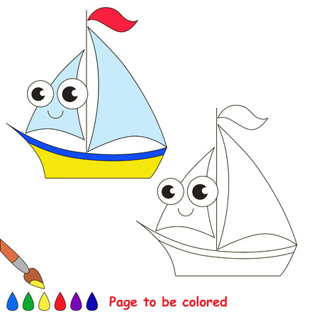black baby boy: Yellow boat to be colored. Coloring book to educate kids. Learn colors. Visual educational game. Easy kid gaming and primary education. Simple level of difficulty. Coloring pages.