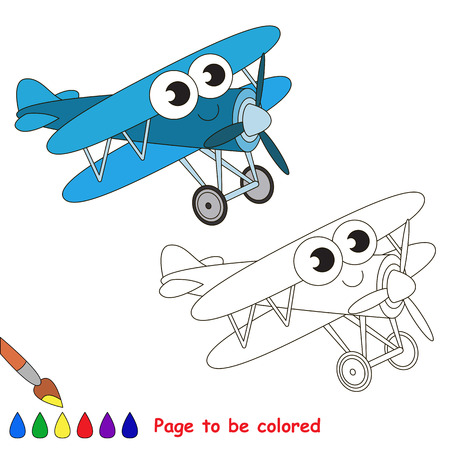 primary education: Blue Biplane to be colored. Coloring book to educate kids. Learn colors. Visual educational game. Easy kid gaming and primary education. Simple level of difficulty. Coloring pages. Illustration