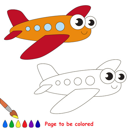primary education: Red airplane to be colored. Coloring book to educate kids. Learn colors. Visual educational game. Easy kid gaming and primary education. Simple level of difficulty. Coloring pages. Illustration