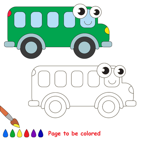 primary education: Green bus to be colored. Coloring book to educate kids. Learn colors. Visual educational game. Easy kid gaming and primary education. Simple level of difficulty. Coloring pages. Illustration