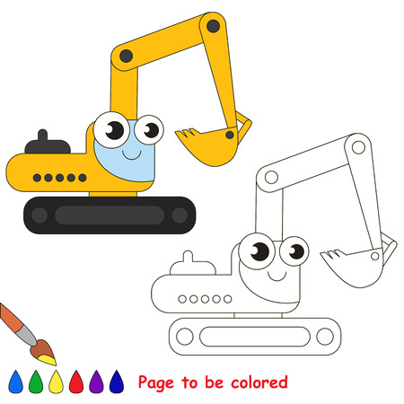 primary education: Yellow excavator to be colored. Coloring book to educate kids. Learn colors. Visual educational game. Easy kid gaming and primary education. Simple level of difficulty. Coloring pages.