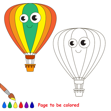 primary education: Aerostat to be colored. Coloring book to educate kids. Learn colors. Visual educational game. Easy kid gaming and primary education. Simple level of difficulty. Coloring pages. Illustration