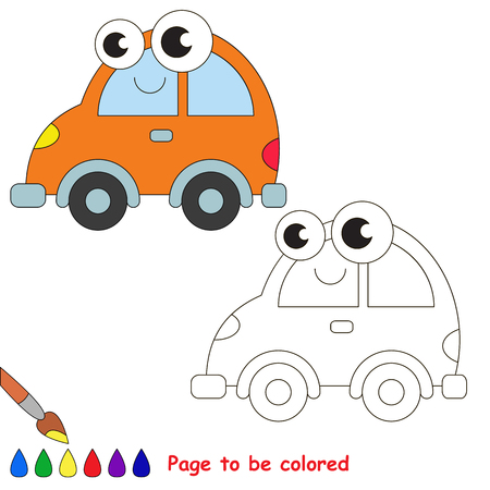 primary education: Orange car to be colored. Coloring book to educate kids. Learn colors. Visual educational game. Easy kid gaming and primary education. Simple level of difficulty. Coloring pages.