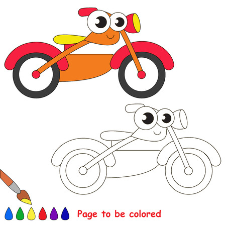 motor bike: Orange motor bike to be colored. Coloring book to educate kids. Learn colors. Visual educational game. Easy kid gaming and primary education. Simple level of difficulty. Coloring pages.