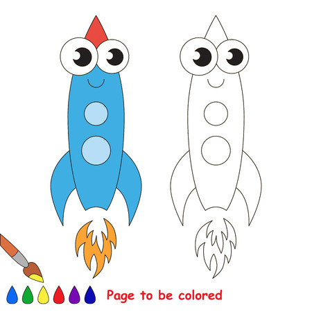 primary education: Blue rocket to be colored. Coloring book to educate kids. Learn colors. Visual educational game. Easy kid gaming and primary education. Simple level of difficulty. Coloring pages.