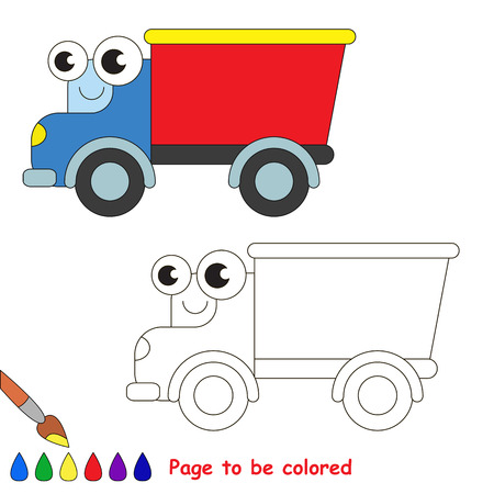 primary education: Red truck to be colored. Coloring book to educate kids. Learn colors. Visual educational game. Easy kid gaming and primary education. Simple level of difficulty. Coloring pages.