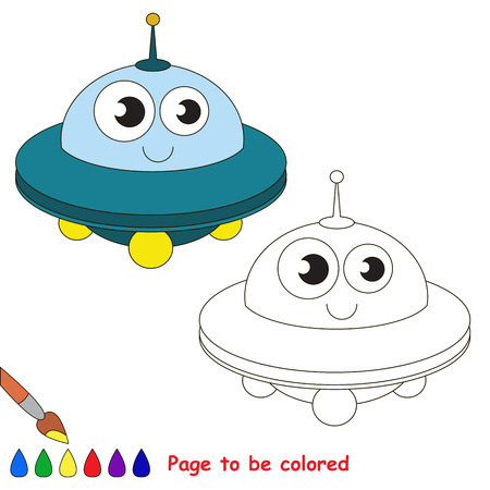 primary education: Blue UFO to be colored. Coloring book to educate kids. Learn colors. Visual educational game. Easy kid gaming and primary education. Simple level of difficulty. Coloring pages.
