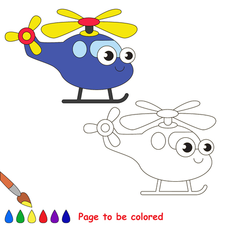 primary education: Blue helicopter to be colored. Coloring book to educate kids. Learn colors. Visual educational game. Easy kid gaming and primary education. Simple level of difficulty. Coloring pages.