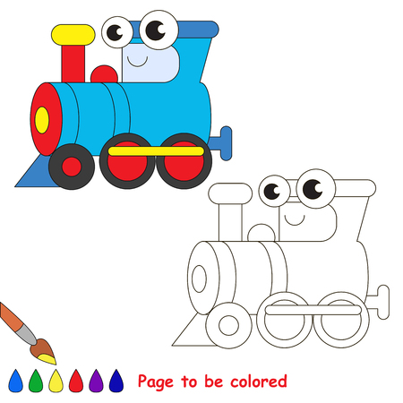 primary education: Blue locomotive to be colored. Coloring book to educate kids. Learn colors. Visual educational game. Easy kid gaming and primary education. Simple level of difficulty. Coloring pages. Illustration
