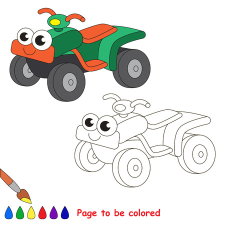 primary education: Green quad bike to be colored. Coloring book to educate kids. Learn colors. Visual educational game. Easy kid gaming and primary education. Simple level of difficulty. Coloring pages.