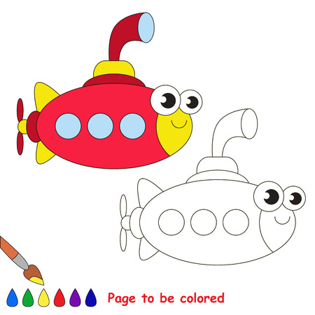 preschool child: Red submarine to be colored. Coloring book to educate kids. Learn colors. Visual educational game. Easy kid gaming and primary education. Simple level of difficulty. Coloring pages.
