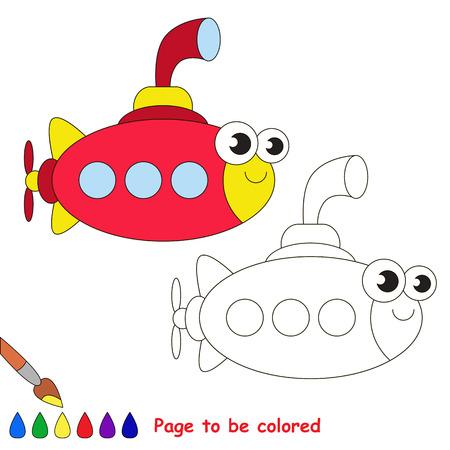 niño preescolar: submarino Roja para ser coloreado. Libro de colorante para educar a los niños. Aprende los colores. juego visual educativo. Fácil de juegos para niños y la educación primaria. simple nivel de dificultad. Páginas para colorear. Vectores