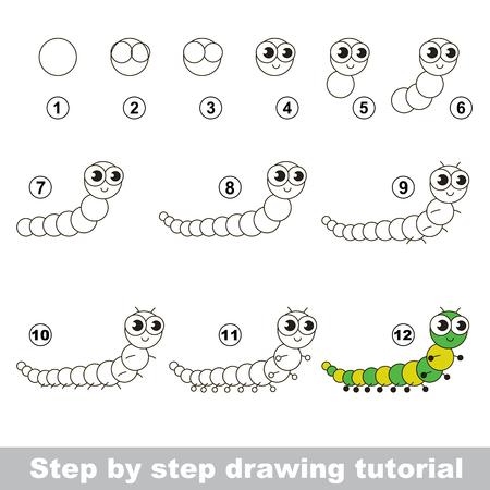 Dessin tutoriel pour les enfants. éducatif Facile jeu d'enfant. niveau simple de difficulté. l'éducation Kid et les jeux. Comment dessiner Centipede.