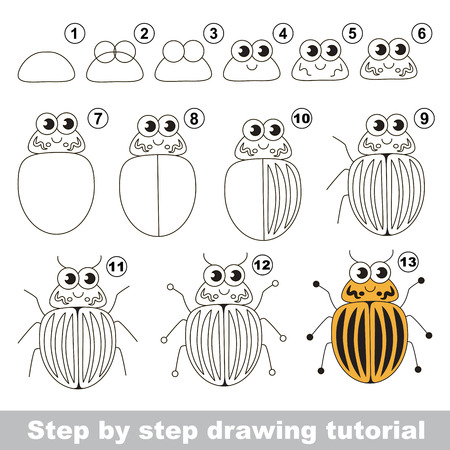 difficulty: Drawing tutorial for children. Easy educational kid game. Simple level of difficulty. Kid education and gaming. How to draw The colorado bug.