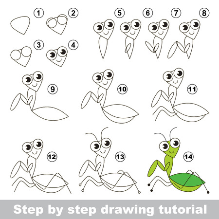 mantis: Drawing tutorial for children. Easy educational kid game. Simple level of difficulty. Kid education and gaming. How to draw The Mantis.