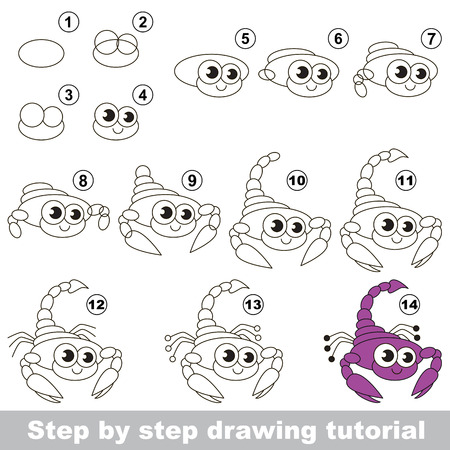 difficulty: Drawing tutorial for children. Easy educational kid game. Simple level of difficulty. Kid education and gaming. How to draw Cute Scorpio.