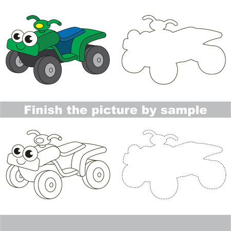 quad: Drawing worksheet for children. Easy educational kid game. Simple level of difficulty. Finish the picture and draw the cute Quad bike