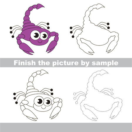 Drawing worksheet for children. The easy level. Finish the picture and draw the cute scorpio