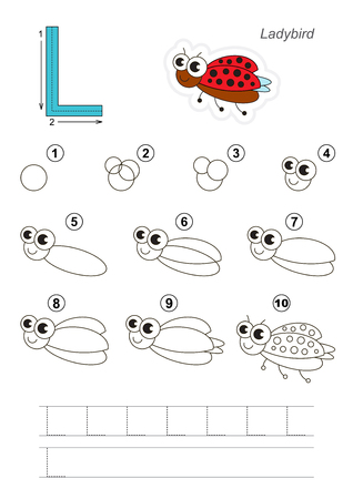 difficulty: Complete vector illustrated alphabet with kid games. Learn handwriting. Easy educational kid game. Simple level of difficulty. Gaming and education. Drawing tutorial for letter L. Funny Ladybug. Illustration