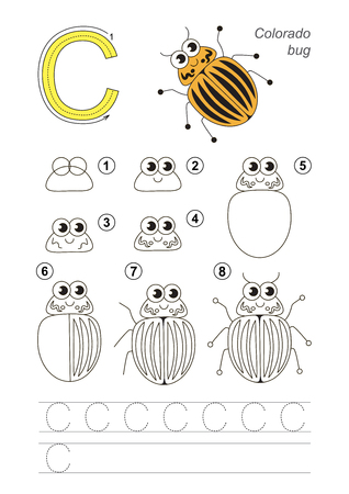 difficulty: Complete vector illustrated alphabet with kid games. Learn handwriting. Easy educational kid game. Simple level of difficulty. Gaming and education. Drawing tutorial for letter C. Colorado Potato Beetle.