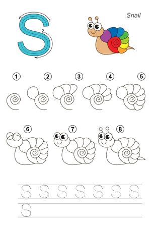 riddles: Complete vector illustrated alphabet with kid games. Learn handwriting. Easy educational kid game. Simple level of difficulty. Gaming and education. Drawing tutorial for letter S. The snail.