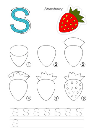 difficulty: Complete vector illustrated alphabet with kid games. Learn handwriting. Easy educational kid game. Simple level of difficulty. Gaming and education. Drawing tutorial for letter S. The Strawberry. Illustration