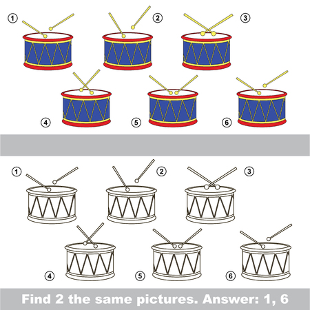 similar: The design difference. Vector visual game for children. Task and answer. Find two similar Drums. Illustration