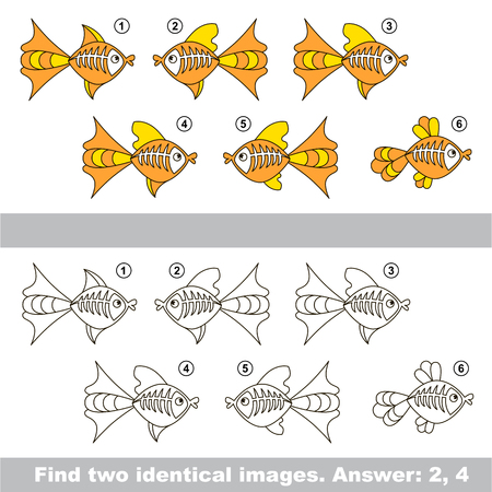 similar: The design difference. Vector visual game for kid education. Simple level of difficulty. Easy educational game. Task and answer. Find two similar X-ray Fishes. Illustration